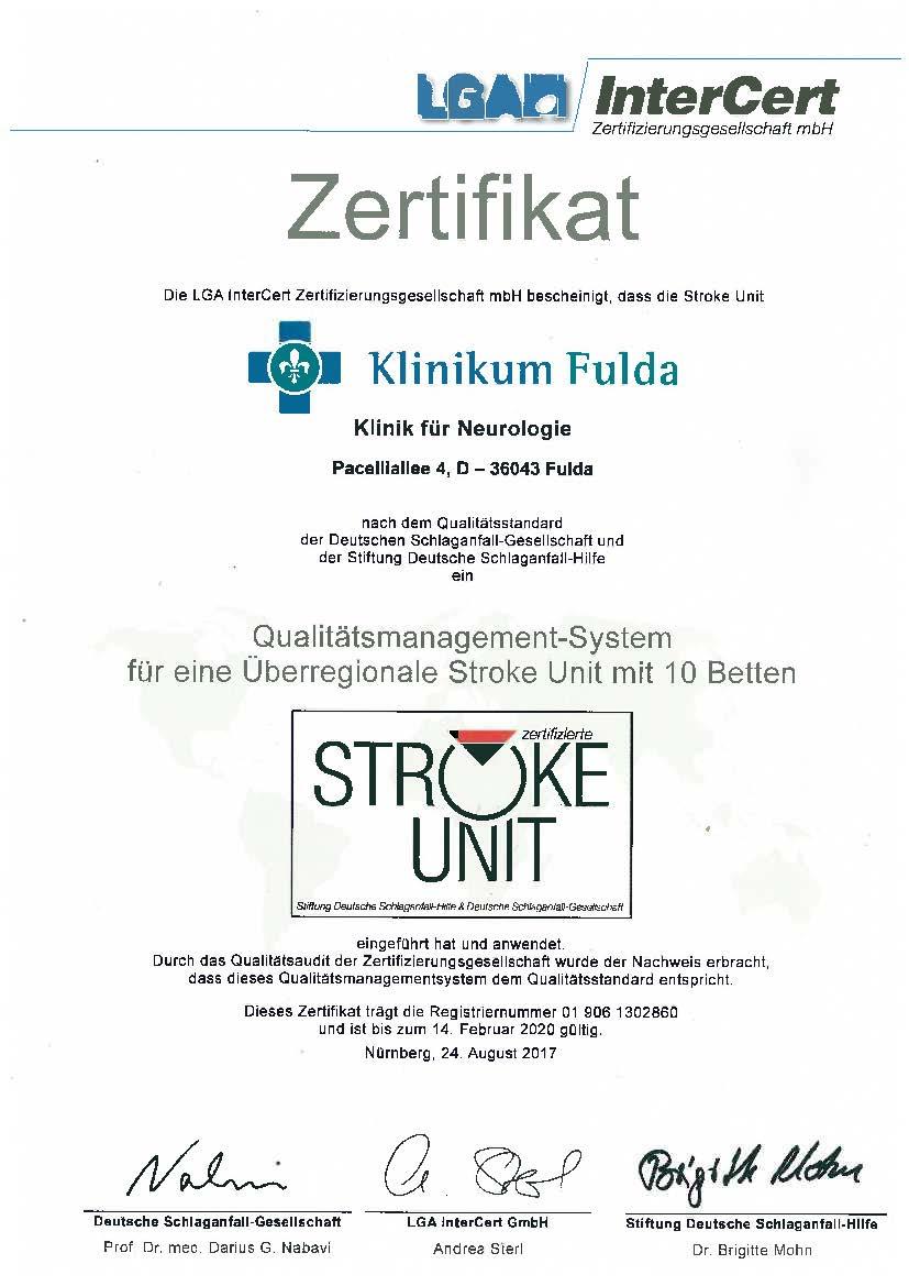 20170920 Neurologie Zertifikat InterCert